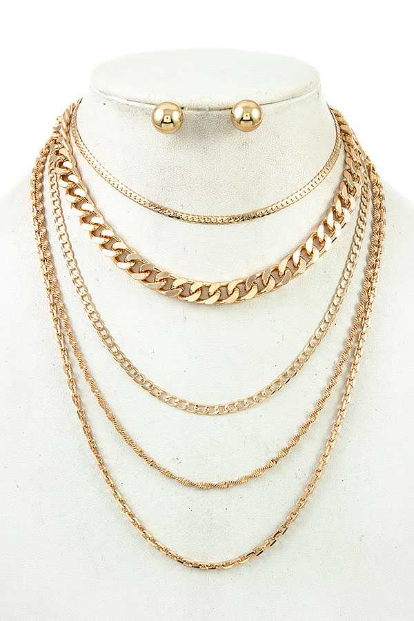 Multiple Layered Chain Necklace