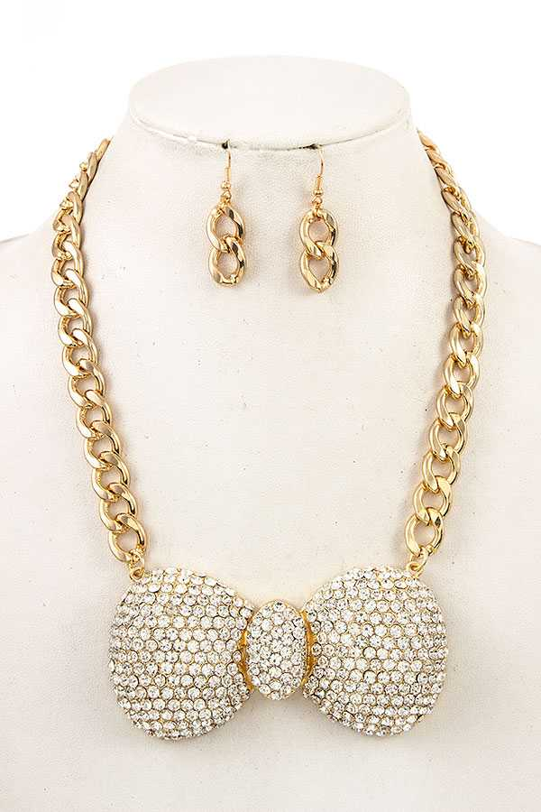 Ribbon Shaped Chain Necklace with Rhinestione