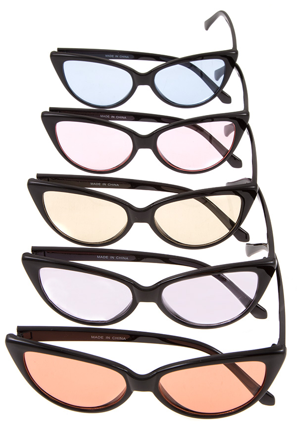 COLOR LENS CAT EYE FRAMED SUNGLASSES PACK