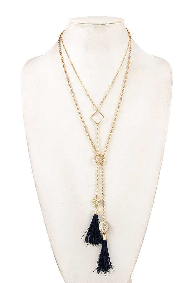 LAYERED TASSEL PENDANT LONG NECKLACE