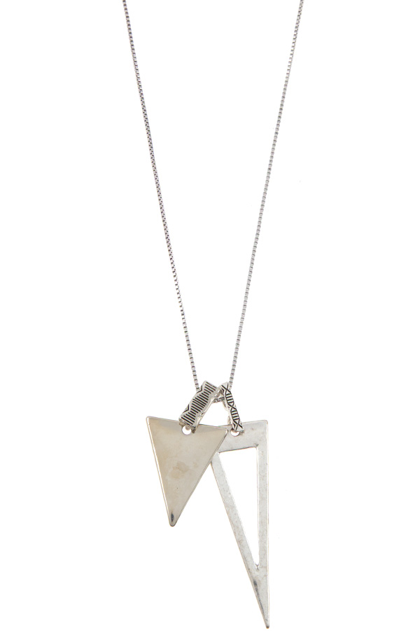 DOUBLE TRIANGLE PENDANT NECKLACE SET