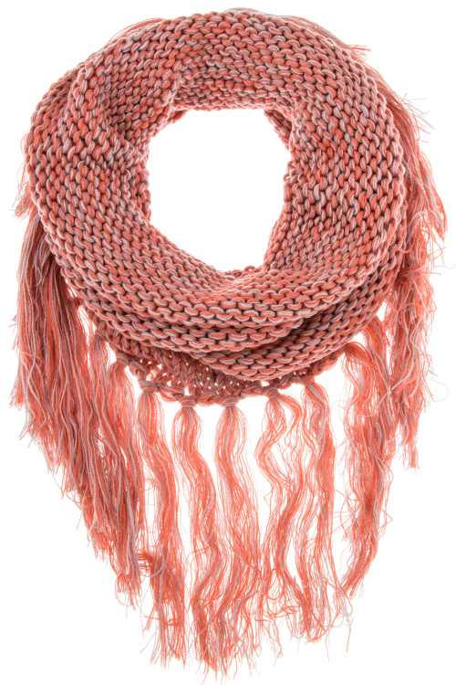 Two Tone Long Fringe Infinity Scarf