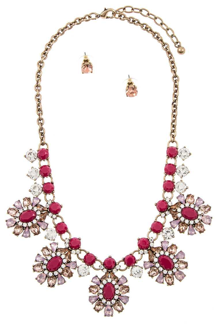 Faux Gem Stone Floral Ornate Bib Necklace Set