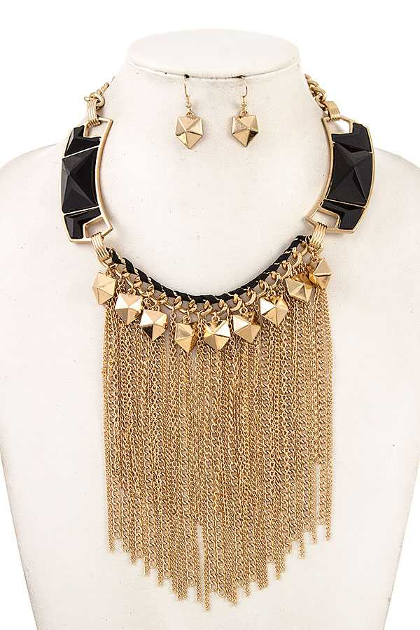 FACETED STONE CHAIN TASSEL NECKLACE SET