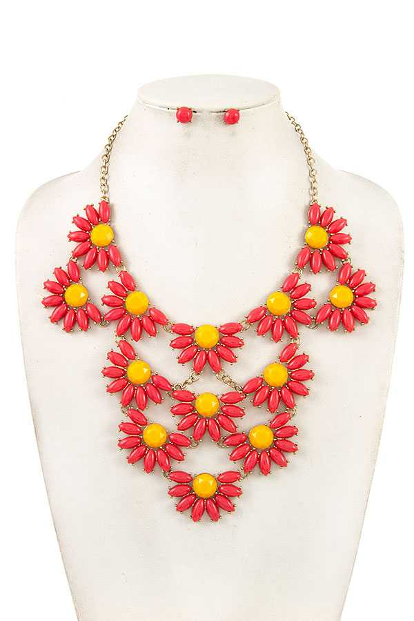 SEMI FLORAL LINK BIB NECKLACE SET