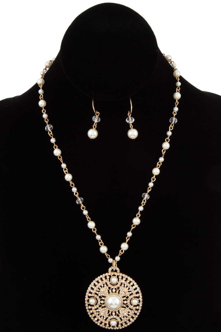 Rhinestone and Pearl Medallion Necklace Set