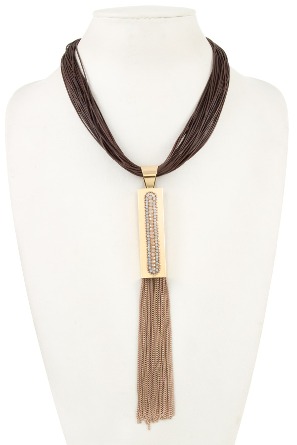 METAL GEM PAVE MULTI CORD NECKLACE
