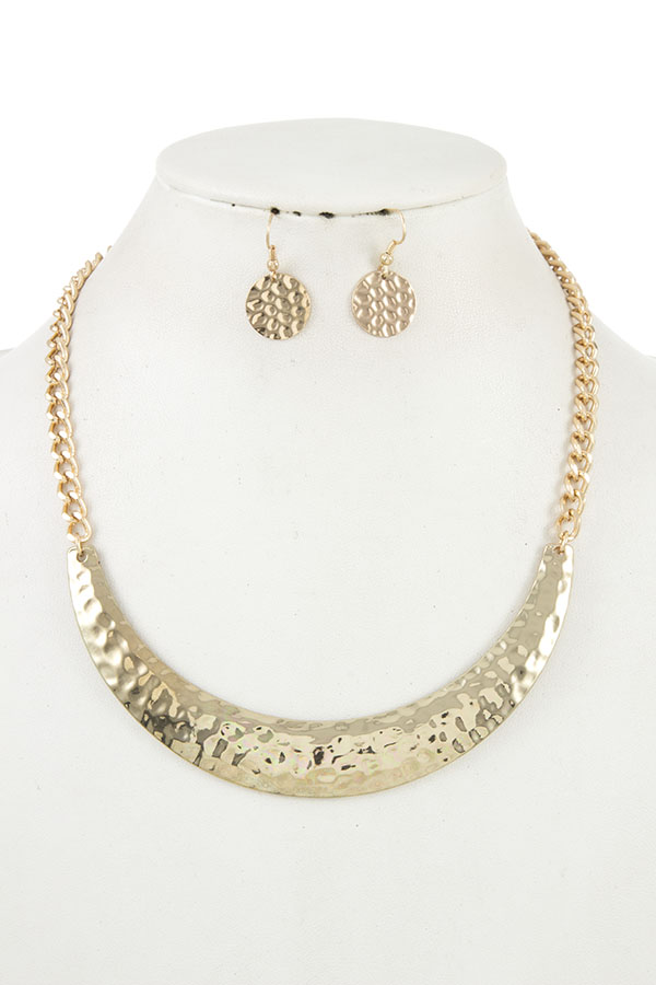 HAMMERED BIB CHAIN NECKLACE SET