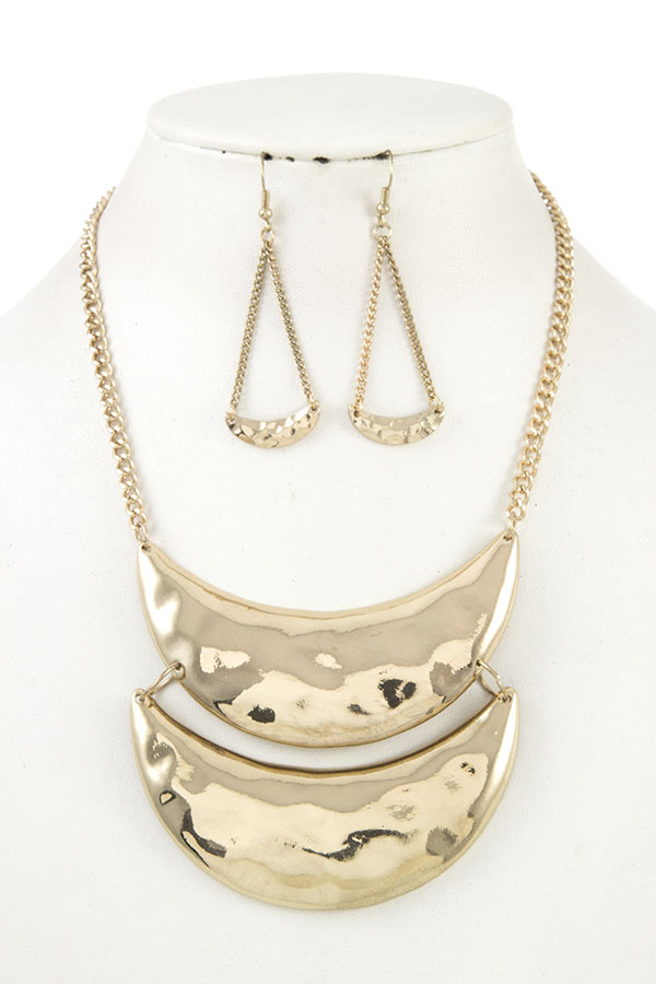 DOUBLE HAMMERED LINK PENDANT NECKLACE SET