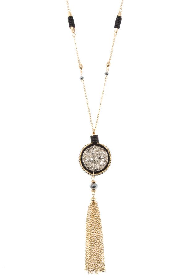 FAUX DRUZY STONE CHAIN TASSEL LONG NECKLACE SET
