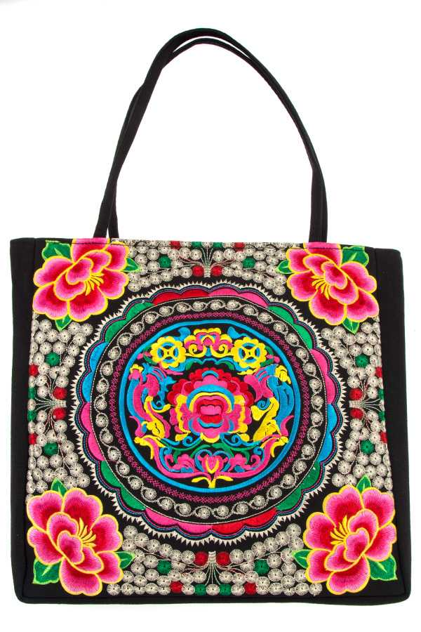 Elaborated Ethnic Floral Pattern Tote Bag
