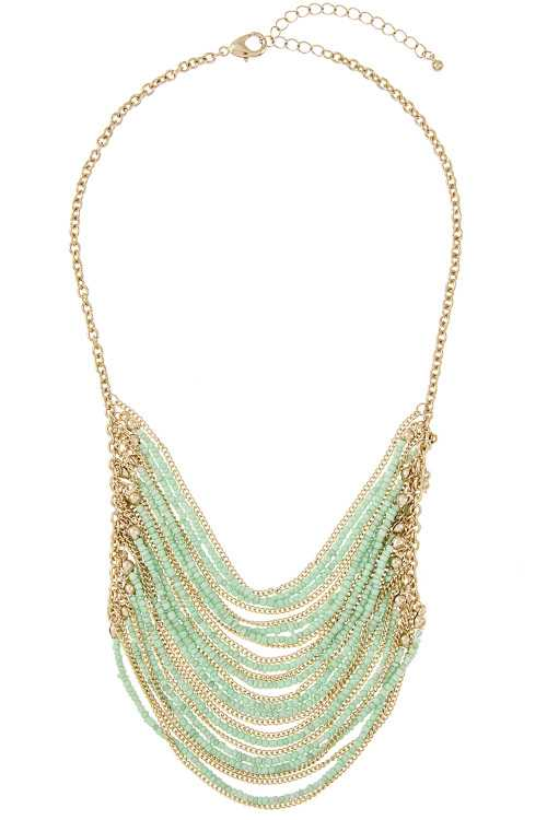Multi Row Draped Bead Chain Necklace