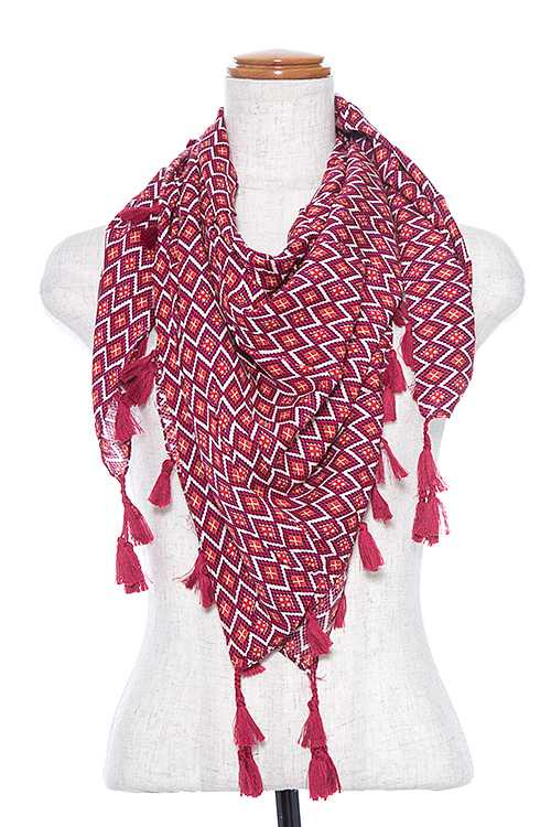 Multi Diamond Patter Tassel Dangle Square Scarf