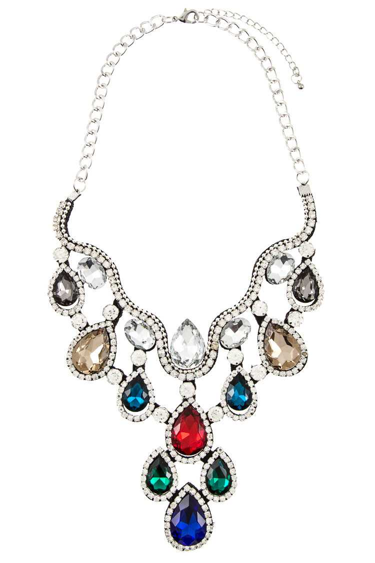 Crystal Teardrop Shaped and Rhinestone Cloth Necklace