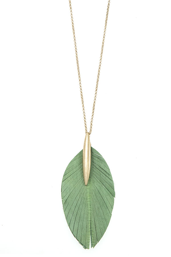GENUINE LEATHER LEAF CUT LONG NECKLACE