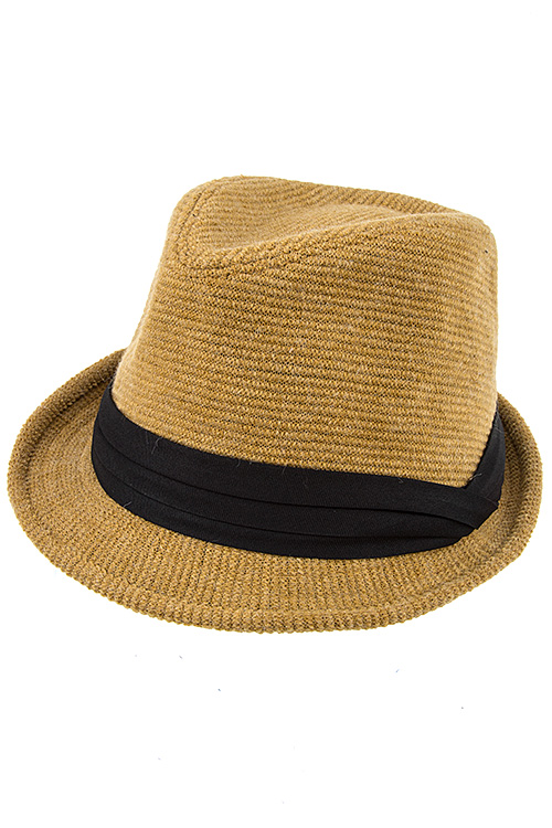 Solid Color Black Band Fedora Hat
