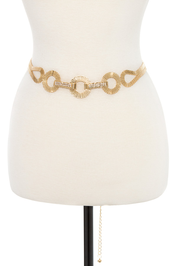 CIRCLE LOOP PATTERN METAL ACCENT CHAIN BELT
