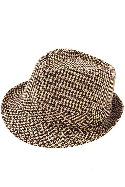 Houndstooh Pattern Fedora Hat with Band