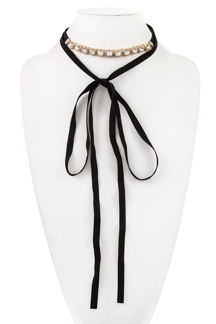 Lined Crystal Long Faux Suede Wrap Choker Necklace