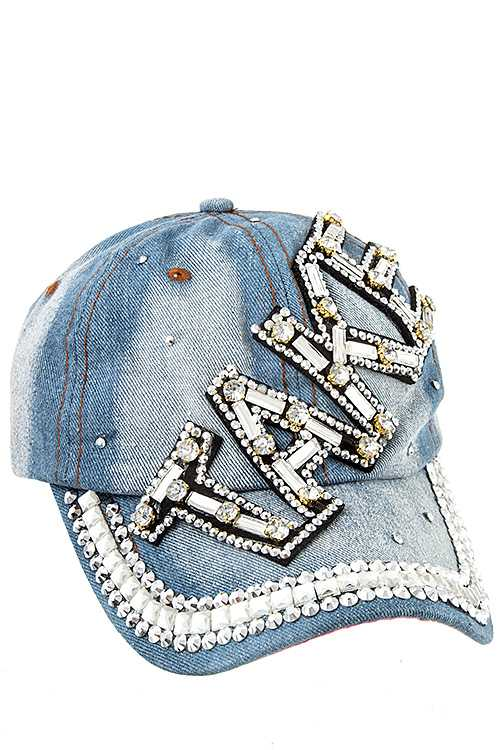 TAKE Gem Stone Accent Fashion Denim Cap