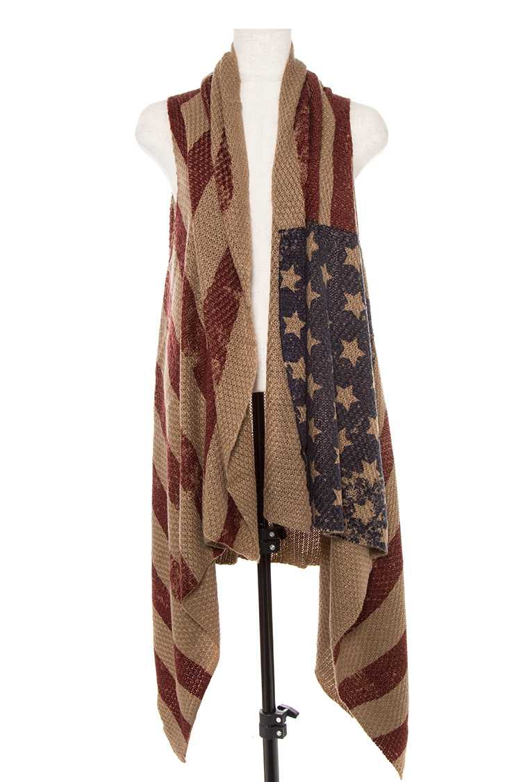 American Flag Print Open Front Vest
