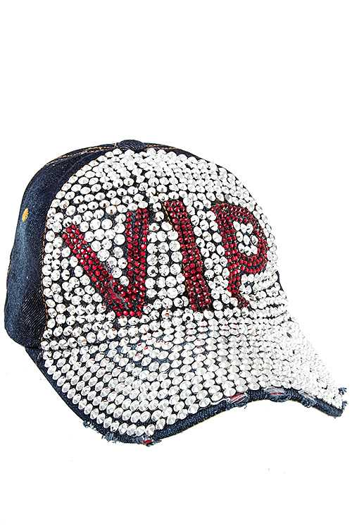 Red VIP Full Bill Gem Distressed Denim Cap