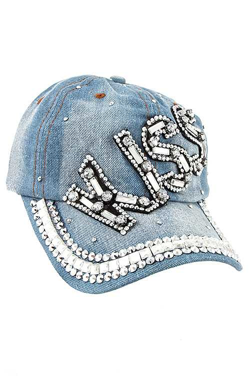 KISS Gem Accent Fashion Denim Baseball Cap