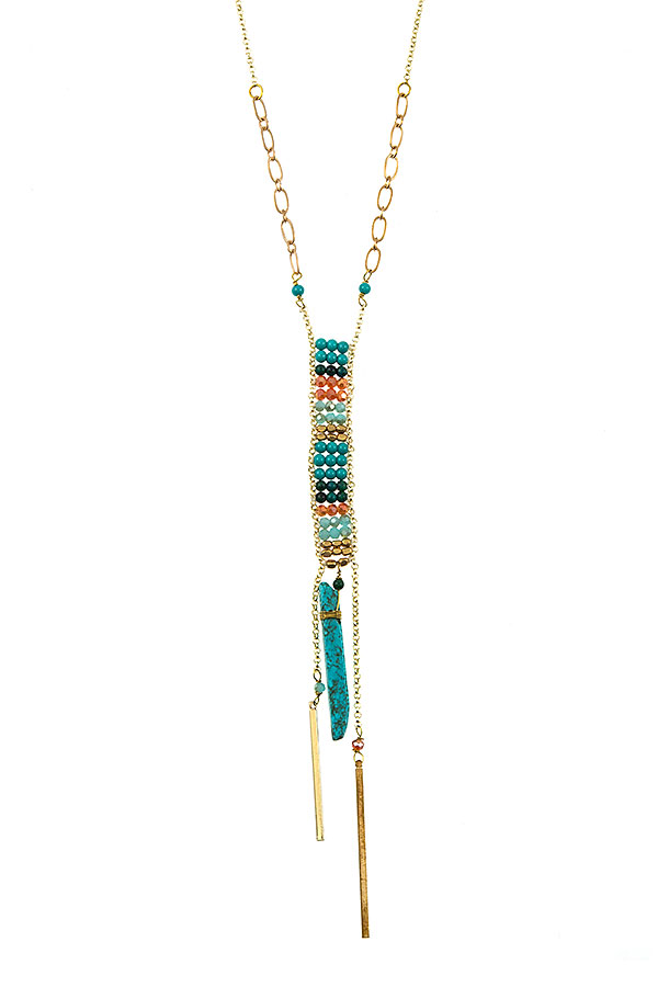 Multi Gem Color Bead Drop Bar Chain Necklace