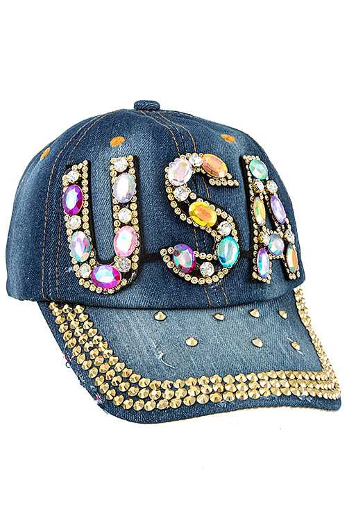 USA Color Gem Pave Fashion Denim Cap