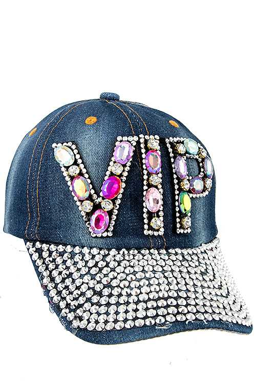 VIP Color Gem Full Bill Stone Distressed Denim Cap