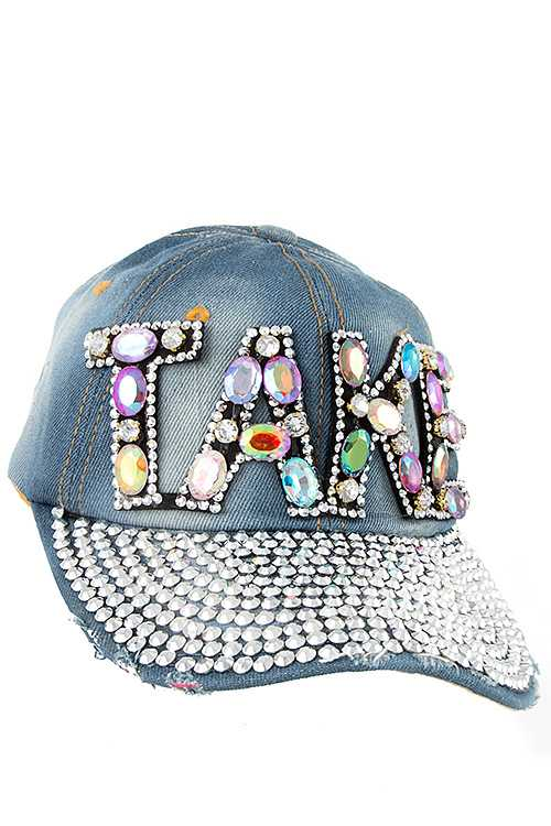 TAKE Color Gem Accent Full Bill Rhinestone Distressed Denim Cap