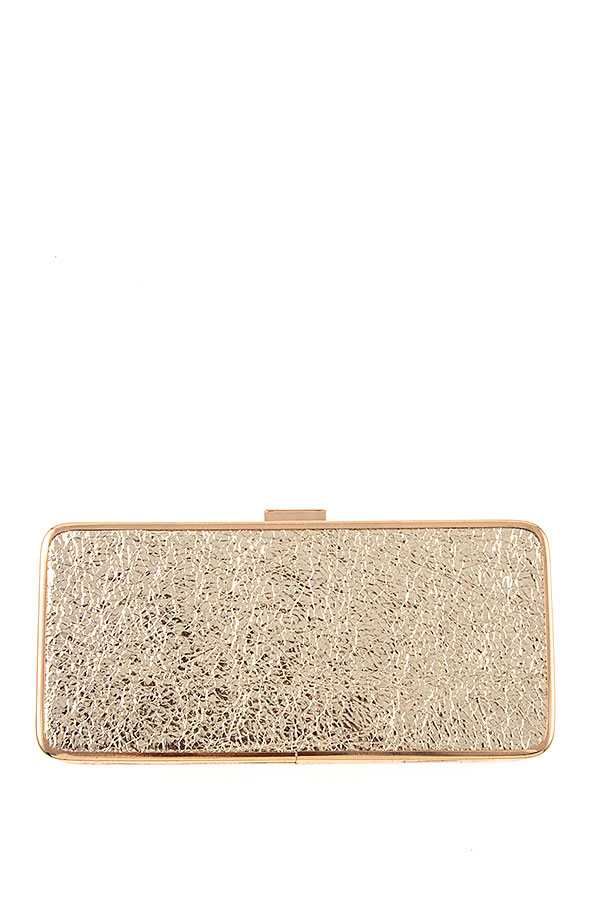 CRACKELED PATENT EVENING CLUTCH BAG