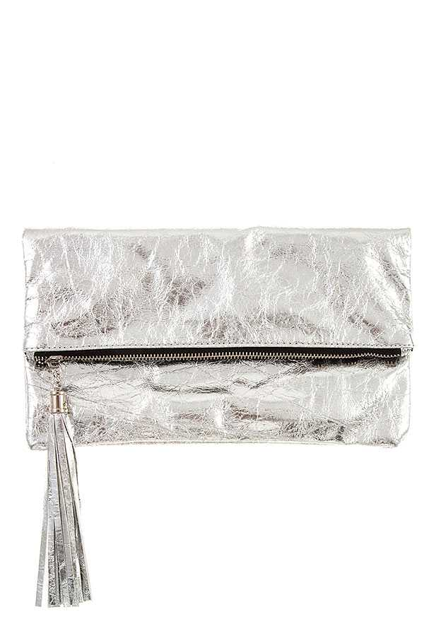 CRACKED PATENT LEATHER FOLDOVER CLUTCH BAG