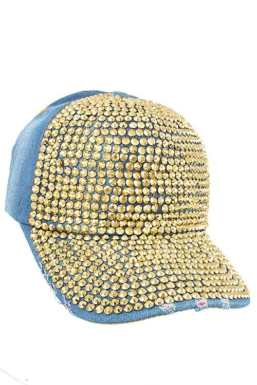 Full Drill Stud Accent Distressed Denim Cap