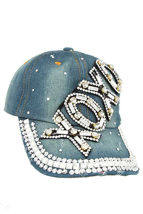 XOXO Gem Accent Distressed Denim Cap