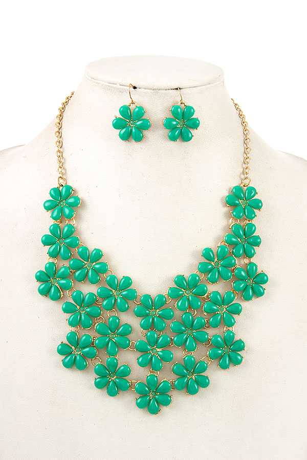 Floral Stone Drop Linked Bib Textured Necklace Set.jpg