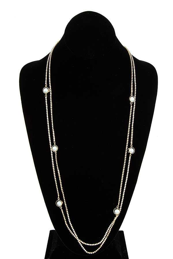 CRYSTAL GEM PAVE PEARL STATION LONG NECKLACE