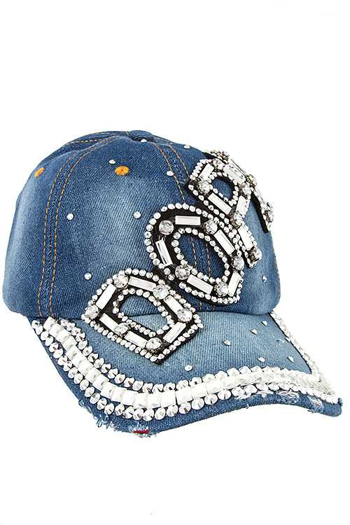 DOPE Gem Accent Studded Distressed Denim Cap