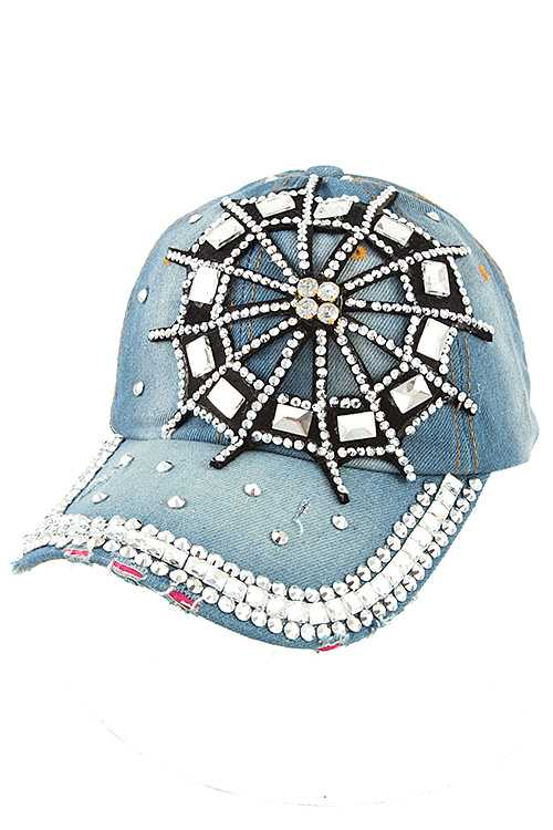 Rhinestone Web Accent Distressed Denim Cap