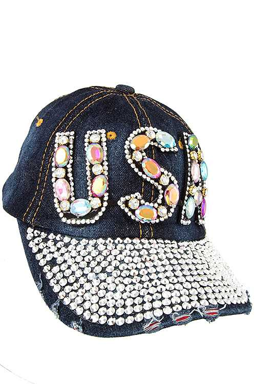 USA Full Bill Gem Accent Distressed Denim Cap