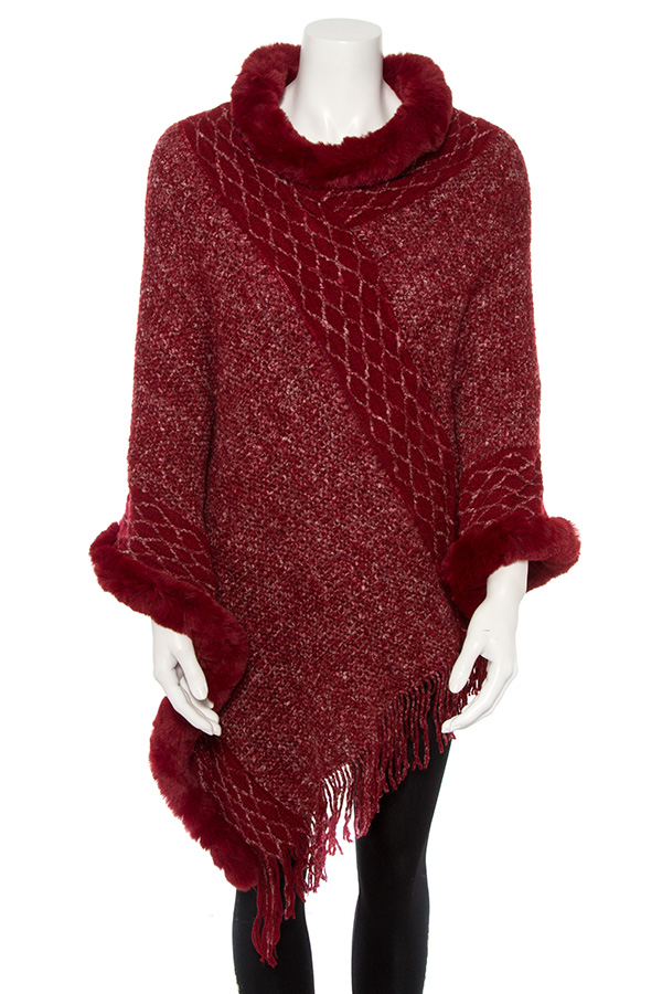 MIX PETTERN ACCENT  FAUX FUR BORDER PONCHO
