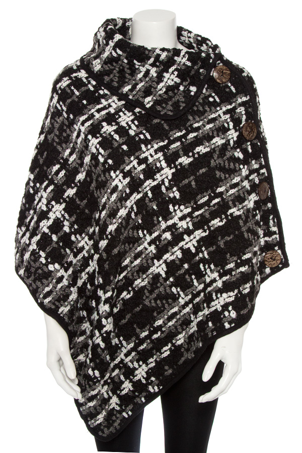SOFT KNIT CHECKERED PATTERN BUTTON ACCENT PONCHO