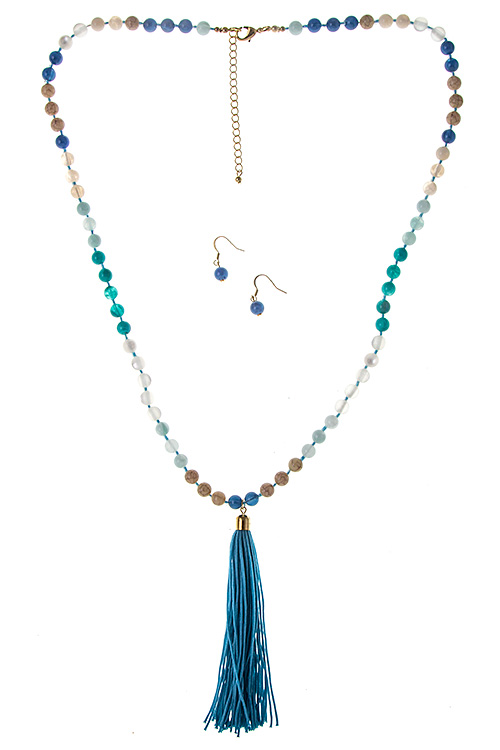 ELONGATED BEADED ACCENT TASSEL DROP NECKLACE SET