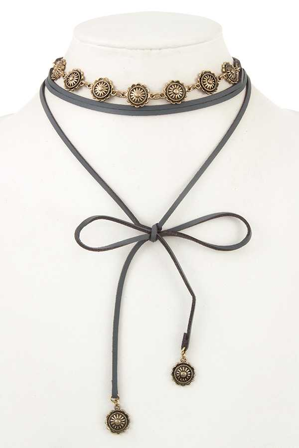 Multi Wrap Faux Leather Coin Dangle Necklace