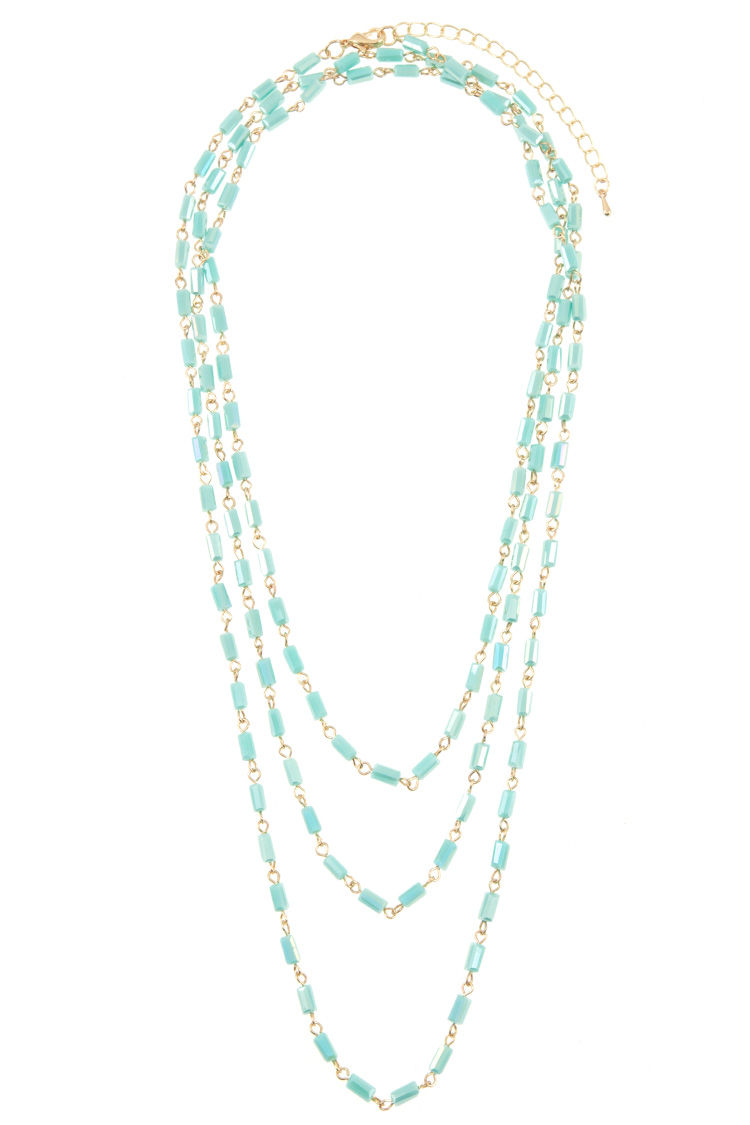Faceted Bar Bead Elongated Necklace Strand