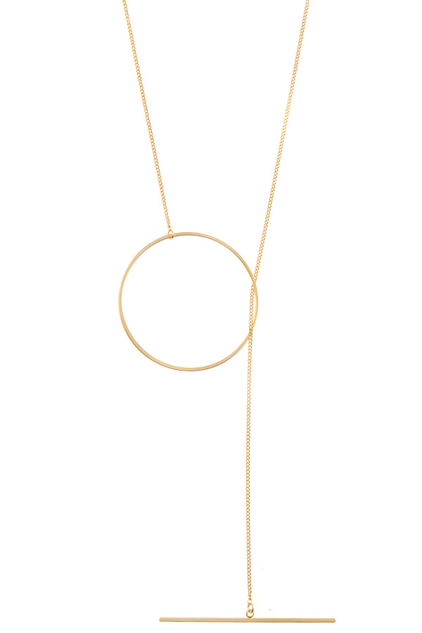 RING WITH DROP BAR LARIAT NECKLACE