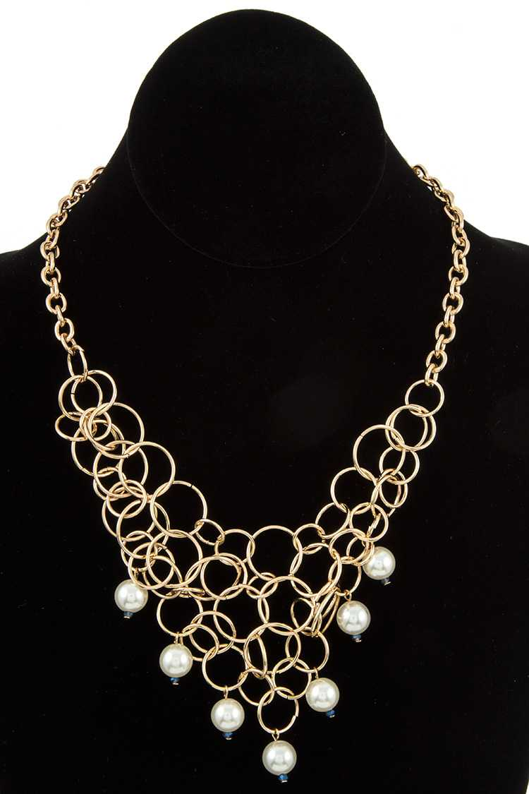 Cluster Ring Pearl Bib Dangle Pendant Necklace