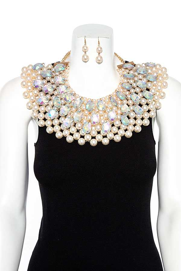 Link Bead with Iridescent Crystal Pebble on Bib Necklace