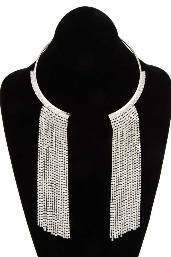 Flat Metal Accent Rhinestone Draped Chain Necklace