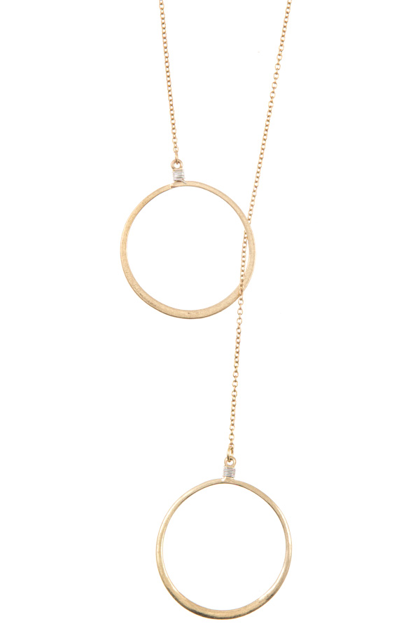 DOUBLE RING LARIAT PENDANT NECKLACE